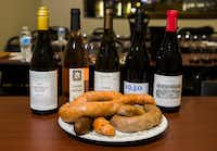 Various samples of boudin paired with wines(Ashley Landis/Staff Photographer)
