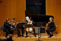 Left to right, violinist Martin Beaver, pianist Gregory Allen, cellist Norman Fischer and violist Paul Coletti perform the Brahms Piano Quartet in A major, Op. 26, in a Chamber Music International Concert at St. Barnabas Presbyterian Church in Richardson on Feb. 16, 2019.(Lawrence Jenkins/Special Contributor)