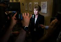 Former Dallas Mayor Laura Miller speaks to reporters as she leaves the City Secretary's office after filing the required petition signatures to secure a place on the ballot for Dallas City Council District 13 on Friday, February 15, 2019 at Dallas City Hall. (Ashley Landis/The Dallas Morning News)(Ashley Landis/Staff Photographer)