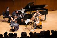 "<p><span style=""font-size: 1em; background-color: transparent;"">Trio con Brio Copenhagen's violinist Soo-Jin Hong, cellist Soo-Kyung Hong and pianist Jens Elvekjaer during a performance at Caruth Auditorium at Southern Methodist University's Owen Arts Center in Dallas on Feb. 18, 2019.</span></p>(Daniel Carde/Staff Photographer)"