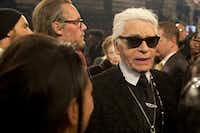 "Karl Lagerfeld is interviewed after the Chanel ""Metiers d'Art"" Show at Fair Park on Dec. 10, 2013 in Dallas.(Cooper Neill/Getty Images for Chanel)"