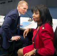 Phillip Jones, VisitDallas president and CEO, and Joyce Williams, VisitDallas chair-elect, after a meeting with city council members in the Dallas City Council briefing room Tuesday, Feb. 19, 2019.(Daniel Carde/Staff Photographer)