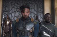 Michael B. Jordan (left) and Daniel Kaluuya as Killmonger and W'Kabi in Disney-Marvel's<i> Black Panther</i>.(Marvel Studios)