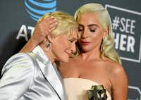 Glenn Close, left, and Lady Gaga, winners in a tie for the best actress award at the 24th annual Critics' Choice Awards, face off again in Sunday's Oscars.(Jordan Strauss/Invision/AP)