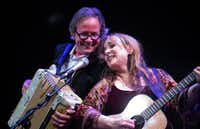 Barry Walsh and Gretchen Peters perform at the MCL Grand Theater in Lewisville on Feb. 17, 2019.(Ira Hantz)