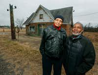 """<p>The Rev. Allen Threatt III (left) and his cousin Edward Threatt stand outside the&nbsp;<span style=""""font-size: 1em; background-color: transparent;"""">Threatt Filling Station in Luther, Okla. The station is on the National Register of Historic Places for its distinction as a black-owned filling station along Route 66.</span></p>(Nate Billings/The Oklahoman)"""