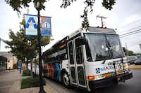 The Metro ArlingtonXpress bus pulls out from College Park Center in Arlington, Texas on Nov. 22, 2016.(File Photo/Rose Baca)