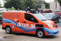 A Drive.ai self-driving vehicle at the company's media showing in Arlington on Thursday, October 18, 2018. (File Photo/Daniel Carde)