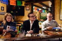 <p>Dallas mayoral candidate Scott Griggs (center) listened to a question at the monthly community event Chorizo and Menudo at El Ranchito restaurant in Dallas on Feb. 2, 2019. Mayoral candidates Lynn McBee (left) and Miguel Solis also participated.</p>(Ben Torres/Special Contributor)