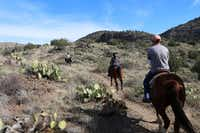 Visitors take a two-hour guided trail ride near Sedona with Horsin' Around Adventures.(Alex Pulaski/The Washington Post)