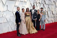 Black Panther cast members (from left) Michael B. Jordan, Letitia Wright,     Danai Gurira, Winston Duke, Zinzi Evans (wife of director Ryan Coogler) and director Ryan Coogler during arrivals at the 91st Academy Awards on Sunday.(Jay L. Clendenin/Tribune News Service)