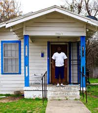 """It is what it is, but I like it,"" says Leon Brown, on the porch of his Bonton shotgun house.(Mark Lamster)"