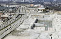Wade Park sits unfinished next to the Dallas North Tollway in Frisco.(Vernon Bryant/Staff Photographer)