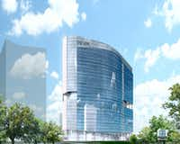 The Link at Uptown office tower is planned for a site on Akard Street next to the new Union development.(BOKA Powell)