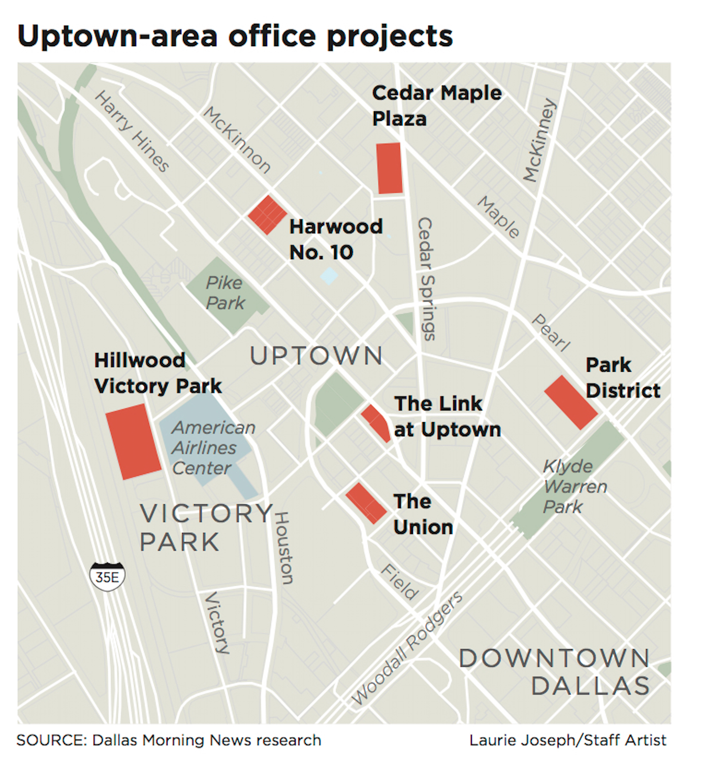 map of uptown dallas Uptown Dallas Developers Gear Up For The Next Round Of Office Building map of uptown dallas