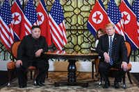 President Donald Trump and North Korea's leader Kim Jong Un hold a meeting during the second US-North Korea summit at the Sofitel Legend Metropole hotel in Hanoi, Vietnam.(SAUL LOEB/AFP/Getty Images)
