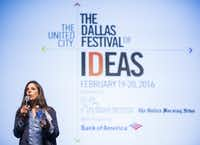 Arts writer Lauren Smart in 2016 leading a discussion at the Dallas Festival of Ideas in Fair Park.(Ashley Landis/Staff Photographer)