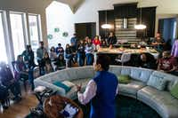 Raj Asava talks to a group about the Indian American Council for the North Texas Food Bank at a home gathering in Frisco. (Shaban Athuman/The Dallas Morning News)(Shaban Athuman/Staff Photographer)