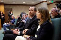 Interim Secretary of State David Whitley waited with his wife of nine years, Megan, to testify before the Senate Nominations Committee on Feb. 7. Democrats and even two Republicans were critical of his office's actions surrounding a bid to find noncitizen voters on voter rolls.(Eric Gay/The Associated Press)