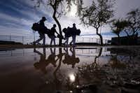 Texas Rangers players dodge puddles left over from the previous day's rains as they head for the back fields at the team's spring training facility on Feb. 15 in Surprise, Ariz.(Smiley N. Pool/Staff Photographer)