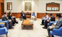 "<p>David Whitley (left) was the only non-security aide with Texas Gov. Greg Abbott and first lady Cecilia Abbott, next to Whitley, when the governor met with Indian Prime Minister Narendra Modi in New Delhi, India., in March 2018. Whitley called it ""one of those moments"" he'll always remember.&nbsp;</p>(Office of the Indian Prime Minister)"