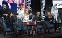 "Executive producer Jane Lipsitz, from front row left, Karlie Kloss, Christian Siriano, Nina Garcia, and from back row left, Texas-native Brandown Maxwell, Elaine Welteroth and executive producer Dan Cutforth participate in Bravo's ""Project Runway"" panel during the NBCUniversal TCA Winter Press Tour. (Richard Shotwell/Richard Shotwell/Invision/AP)"