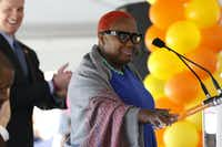 Former Dallas City Council member Carolyn Davis speaks during the opening celebration of CitySquare Opportunity Center in South Dallas on Nov. 6, 2014. (Rose Baca/Staff Photographer)