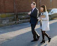 """<p>Mark Jordan and his wife, former Richardson Mayor Laura Jordan, left the Paul Brown Federal Building United States Courthouse in Sherman, in February. The Jordans are being granted a new trial<span style=""""font-size: 1em; background-color: transparent;"""">due to a court security officer's inappropriate comments to a distraught juror.</span></p>(Vernon Bryant/Staff Photographer)"""
