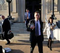 Mark Jordan and former Richardson Mayor Laura Jordan leave the Paul Brown Federal Building United States Courthouse in Sherman, Texas on Tuesday, February 12, 2019. Prosecutors say Laura Jordan accepted money, gifts and other favors from Mark Jordan in exchange for voting for a controversial rezoning involving his large apartment development in the city.(Vernon Bryant/Staff Photographer)