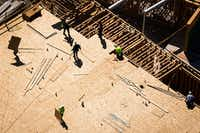 Construction on apartments in the Palisades Central project in Richardson is seen in an aerial view Thursday, March 23, 2017, in Richardson, TX. Laura Jordan, the city's ex-mayor, is on trial for allegedly selling her vote on the project for gifts and other benefits from the developer.(Smiley N. Pool/Staff Photographer)