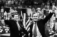 On July 14, 1980, the Republican National Convention convened at Joe Louis Arena in Detroit, Mich. Former Gov. Ronald Reagan of California was nominated for president and former congressman George H.W. Bush of Texas for vice president.(Joe Kennedy/TNS)