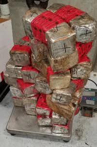Packages containing 120 pounds of methamphetamine and 4 pounds of heroin were seized Saturday at Juarez-Lincoln Bridge.(U.S. Customs and Border Protection)