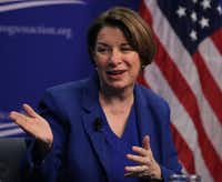 U.S. Sen. Amy Klobuchar, D-Minn., participates in a discussion at the Center for American Progress Action Fund on March 5 in Washington, DC. (Mark Wilson/Getty Images)
