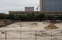 The construction site for Plush Suites Hotel in Dallas.(Shaban Athuman/Staff Photographer)