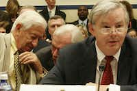 Rep. Ralph Hall (far left) had a word with Herb Kelleher, who was chairman of Southwest Airlines, as Rep. Joe Barton gave a statement during the House Committee on Transportation and Infrastructure's Subcommittee on Aviation hearing on reforming the Wright Amendment on July 12, 2006.(Michael Temchine/Special contributor)