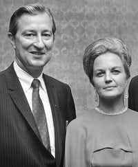 Texas State Sen. Ralph Hall launched his campaign for Texas lieutenant governor with his wife, Mary Ellen, at his side in Aug. 5, 1969.(Bob W. Smith/Staff photographer)