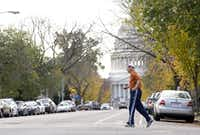 Rep. Ralph Hall, age 86, took his more than 3-mile daily jog from his house on Capitol Hill to RFK Stadium and back on Nov. 2, 2009.(Politico/File 2009)