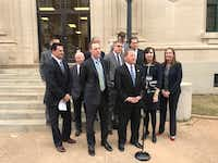 U.S. Attorney Joseph Brown comments on the guilty verdicts against Laura and Mark Jordan on Thursday in front of the federal courthouse in Sherman. Standing to the left of him in the dark suit and striped tie is Christopher Eason, the lead prosecutor, who told jurors throughout the trial that the couple lied to cover up corruption, not merely an affair.(Kevin Krause/Staff)