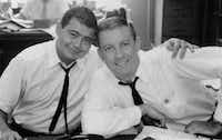 Gary Cartwright (left) and Bud Shrake in 1961. Dan Jenkins worked with Cartwright and Shrake, who went on to notable literary careers of their own, under the legendary Blackie Sherrod at the <i>Fort Worth Press</i> in the 1950s.(Courtesy Gary Cartwright)