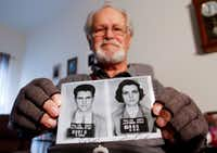 David Myers holds a copy of the booking photos of himself and his then-girlfriend, Winonah Beamer, in his room at Mustang Creek Estates in Frisco on Feb. 7, 2019. Winonah soon after became his wife. They both were part of the Freedom Rides movement, where students and others through the Deep South in 1961 to sit in segregated waiting rooms at transportation facilities as part of the Civil Rights movement. (Brian Elledge/Staff Photographer)