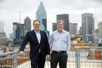 The newly constructed Luminary has sweeping panoramic views of downtown, Uptown and the Trinity River in Dallas. It also has an eighth-floor rooftop view, where Crescent Real Estate's John Zogg (right) and JLL's James Esquivel are pictured.(Tom Fox/Staff Photographer)