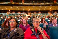 Audience members listen during the Engage Dallas 2019 Mayoral Candidates Forum hosted by the Mayor's Star Council at the Music Hall at Fair Park on Friday, March 8, 2019, in Dallas. (Smiley N. Pool/The Dallas Morning News)(Smiley N. Pool/Staff Photographer)