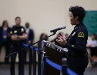 Dallas Police Chief U. Renee Hall answered questions about the city's juvenile curfew ordinance during a City Council meeting at Park in the Woods Recreation Center in Dallas on Feb. 13, 2019.(Rose Baca/Staff Photographer)