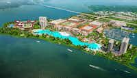 Initial plans for the $1 billion Bayside development on I-30 in Rowlett included a fountain that the developers said would be the largest in the state, and a crystal lagoon.(Crystal Lagoons U.S. Corp.)