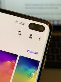 There are dual front cameras on the S10+(Jim Rossman)