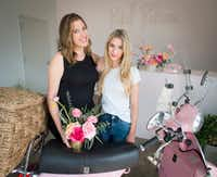 <p>For orders within the Dallas city limits, Giselle Ruggeberg (left) and Ali Pickens send their flowers out for delivery on a pink Vespa. </p>(Robert W. Hart/Special Contributor)
