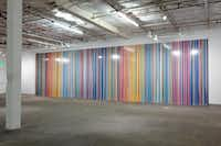 Ian Davenport's <i>Giardini Colourfall</i> at the Dallas Contemporary. Bruce Wood Dance performed in front of the painting.(Kevin Todora/Special Contributor)
