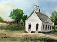 Painting of original Oak Lawn Methodist Church building.(Courtesy  Oak Lawn UMC)