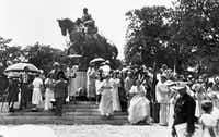 Dressed for a celebratory occasion, members of a crowd milled about the newly unveiled statue of Robert E. Lee after President Franklin D. Roosevelt dedicated it at Lee Park in Dallas, Texas, on June 12, 1936. Roosevelt also spoke at the Texas Centennial Exposition, at Fair Park, earlier in the day.(Dallas History & Archives Division/Dallas Public Library)