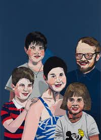 &nbsp;Jonas Wood, <i>Sears Family Portrait</i>, 2011, oil and acrylic on linen, 44 x 32 in., private collection, courtesy the artist and Anton Kern Gallery, New York.&nbsp;(Thomas Muller)